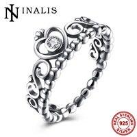 Inalis queen princess crown wedding anello di fidanzamento 925 sterling-silver-monili di lusso cz pietra donne moda vintage mid anelli