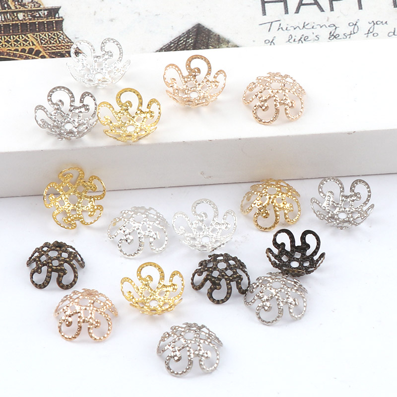 11mm Shiny Vintage Filigree Metal Hollow Flower Spacer Beads End Caps Pendant DIY Charms Connectors Jewelry Findings цена