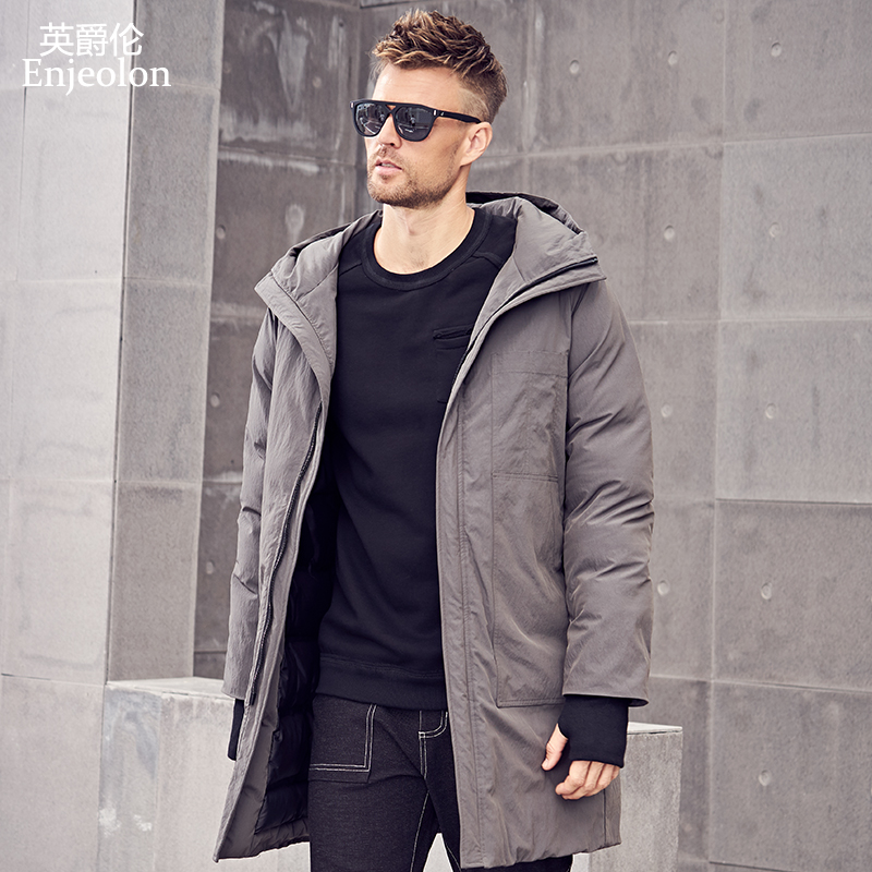 Enjeolon Brand Winter Cotton Padded Hooded Long Jacket Men Thick Hoodies Parka Coat Male Quilted Jacket Coat MF0629