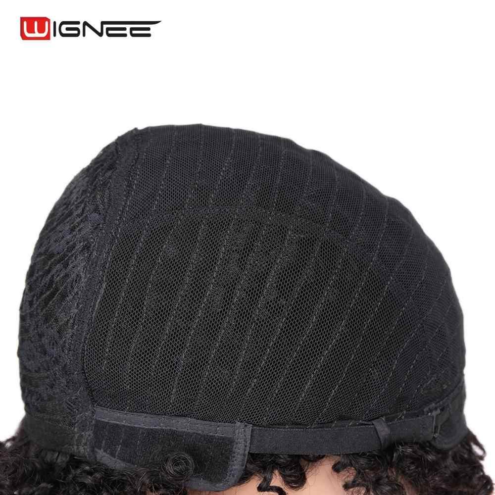 Peluca corta de pelo humano Wignee para Mujeres Negras/blancas Remy India pelo negro Natural Afro rizado sin pegamento humano peluca Dropshipping. Exclusivo.