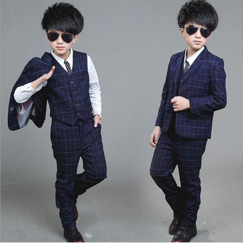 3 PCS Kids/Children 2017 Navy Blue Formal Boy Wedding/Tuxedo Suits ...