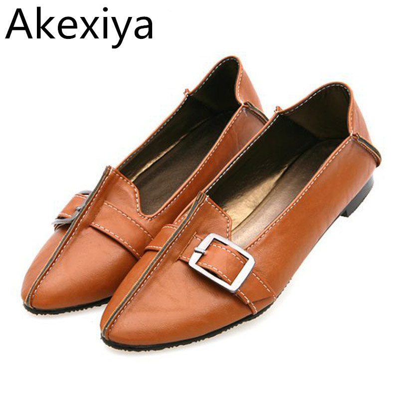 Akexiya Fashion Ballet Flats Casual Shoes Woman Summer Style Loafers Spring  Pointed Toe Women Flat Shoes Slip On Oxfords plue size 34 49 spring summer high quality flats women shoes patent leather girls pointed toe fashion casual shoes woman flats