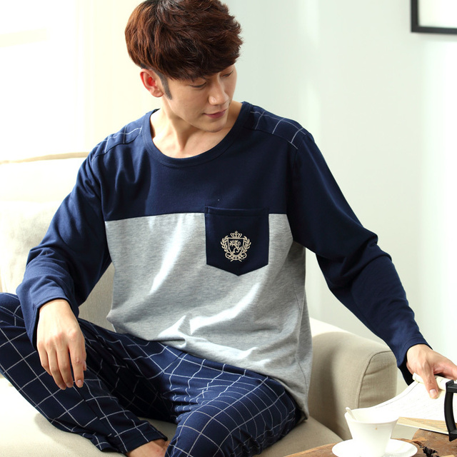 Men's Pajamas Spring Autumn Long Sleeve Home Wear Cotton Plaid Cardigan Pyjamas Men Lounge Pajama Sets Plus size 3XL Sleepwear