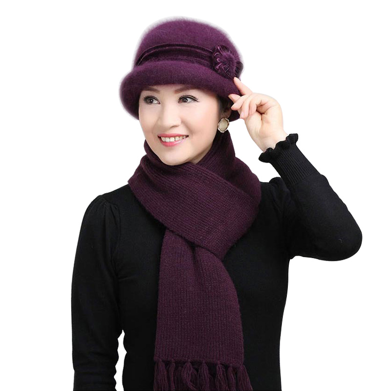High Quality Rabbit Wool Hat Scarf Fashion Warm The Elderly Women's Knitted Scarf Cap Winter Gift For Mother Hat & Scarves 2pcs