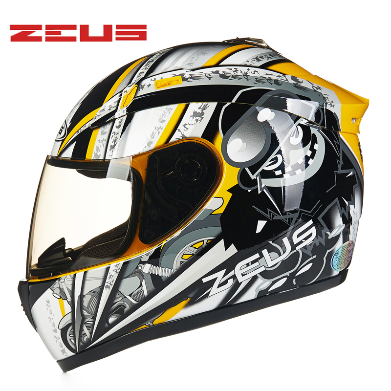 M-XXXL Plug size ZEUS Full Face Motorcycle Helmet ABS Motocross Motorbike ECE DOT Helmets Anti-glare deceleration 2017 new ece certification ls2 motocross motorcycle helmet ff352 full face motorbike helmets made of abs and pc silver decadent