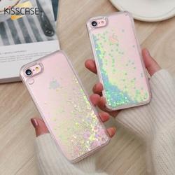 KISSCASE Mignon Brillant Cas Pour iPhone 6 6 s 7 Plus 5 5S SE Quicksand Bling Sequin Couverture de Téléphone Pour iPhone 6 6 s 7 8 Plus 5 5S Capa