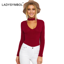 LADYSYMBOL Sexy Choker Ribbed Cotton Knitted Halter Bodysuit Women V Neck Long Sleeve Autumn Rompers Women Jumpsuits Playsuits