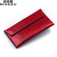 NIGEDU Brand Genuine Leather Women Wallet Long Thin Purse Cowhide Multiple Cards Holder Clutch Bag Fashion