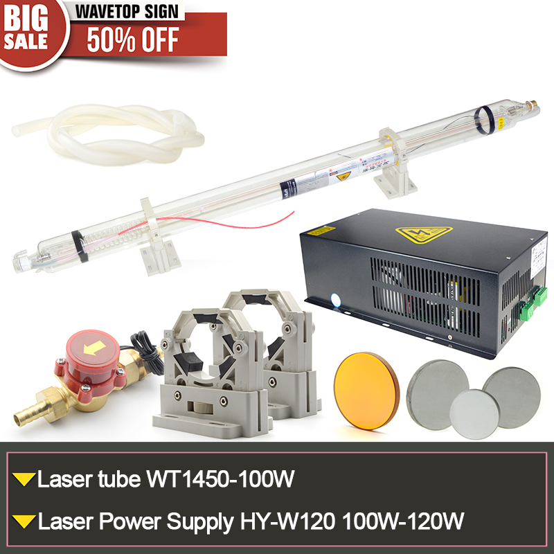 CO2 Laser Tube 100W WT-1450-100W+laser power supply HY-120W 120W+Tube Holder+Water Sensor+Silicon Tube+Focus Lens+reflect mirror laser head owx8060 owy8075 onp8170