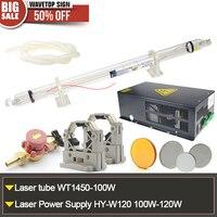 CO2 Laser Tube 100W WT 1450 100W Laser Power Supply HY 120W 120W Tube Holder Water
