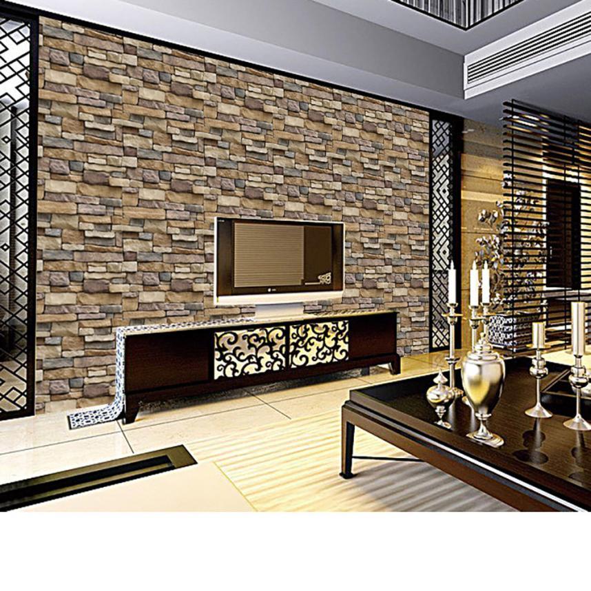 2018 3D Wall Paper Brick Stone Rustic Effect Self-adhesive Wall Sticker Home Decor S JA16