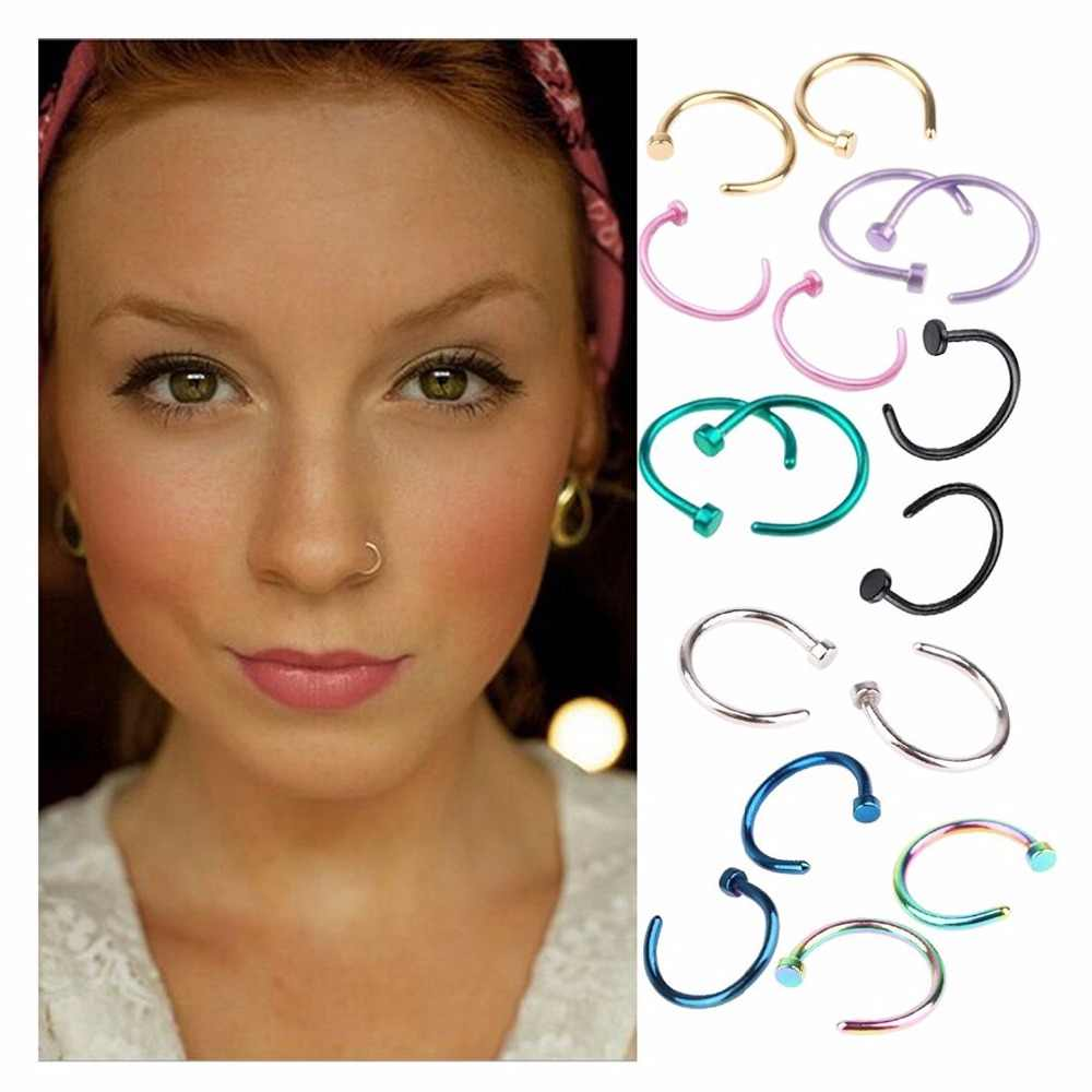 MODRSA 2pcs טיטניום מזויף האף טבעת C קליפ שפתיים פירסינג האף חישוק טבעות נשים האף מזויף פירסינג גוף תכשיטים פירסינג Nariz