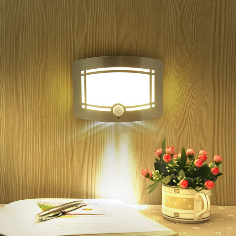 motion sensor activated led wall sconce battery operated wireless night light auto onoff for - Battery Operated Sconces