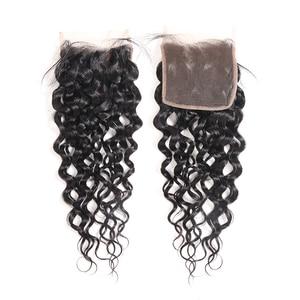 "Image 2 - Ali Queen Hair Water WAVEบราซิลVirgin Hair 10 ""ถึง 20"" 100% ผมมนุษย์ 4x4 ฟรีส่วนสวิสปิดลูกไม้ด้วยผมเด็ก"