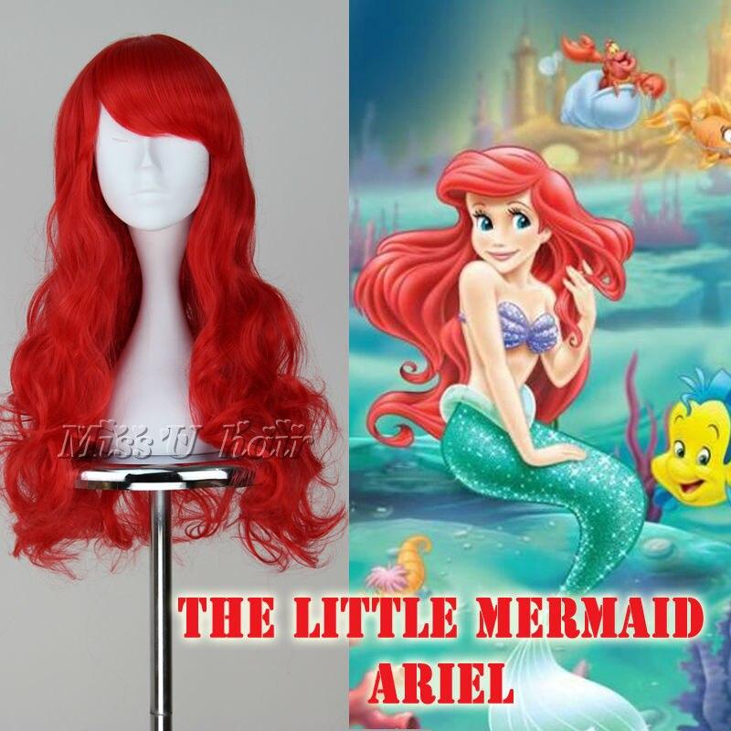 The Little Mermaid Ariel Wig Long Wavy Red Cosplay Costume Wig Hair