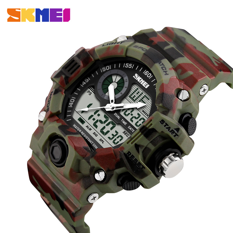 SKMEI Men Dual Display Wristwatches 50M Waterproof Outdoor Sport Watch Chronograph Shock Resistant Watch Relogio Masculino 1029