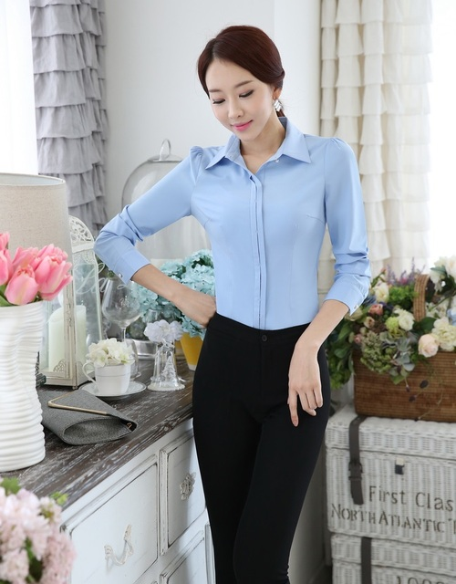 5cf21449ffdc5 Novelty Blue Slim Fashion Uniform Style Business Women Pantsuits Tops And Pants  Office Work Wear Suits