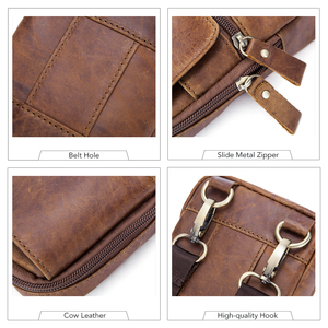 Image 4 - WESTAL Bolsa de mensajero con cinturón de Bolsos de cuero auténtico para hombre, Bolso pequeño de cintura, a la cadera, estilo cruzado, 1024