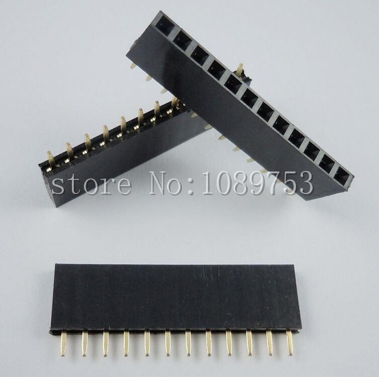 240PCS 12Pin 2.54mm Single Row Straight Female Pin Header 12P Strip PBC ys 532 single row 20pin female headers black 5 pcs