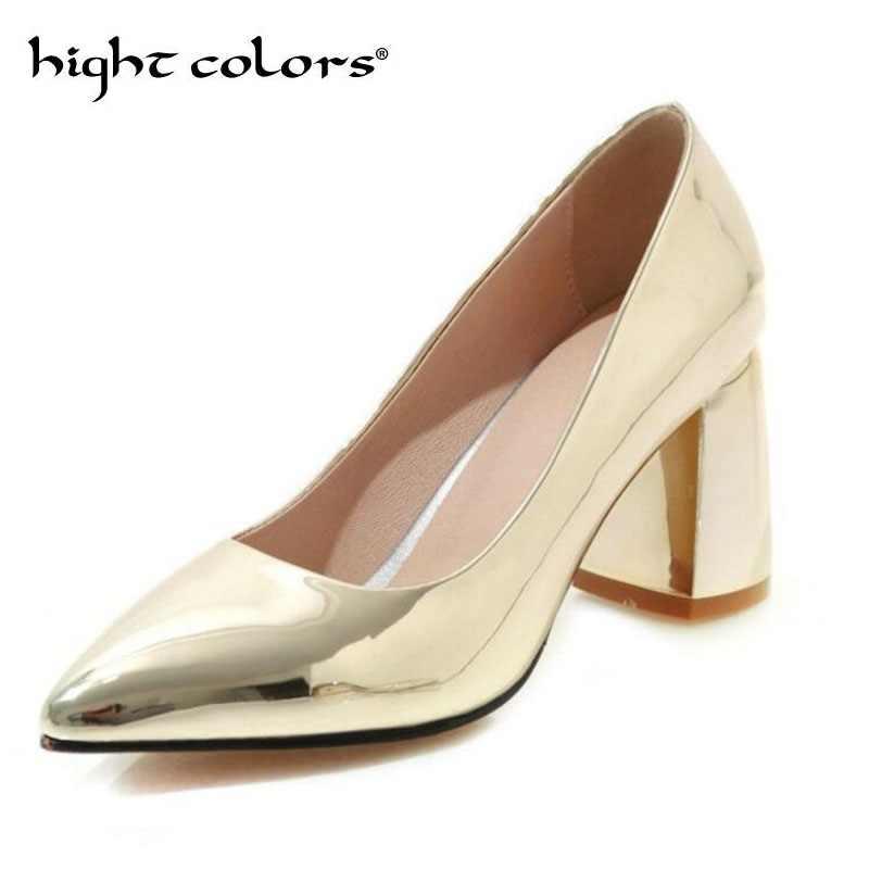 Ropa De Calle Europea Y Americana Mujeres Oro Plata Vestido Nupcial Corte Zapatos Metal Color Pu Tacón Alto Bombas Boda Fiesta 43 Tamaño