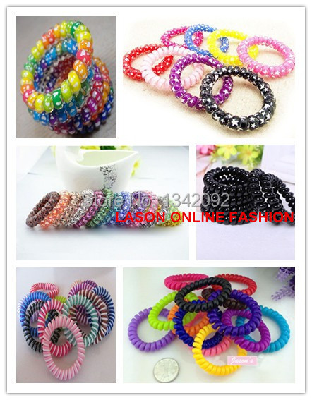 100PCS/Lot Colorful Telephone Wire Cord Elastic Ponytail Holders Hair Ring Scrunchies For Girl Rubber Band Tie Hair Accessories