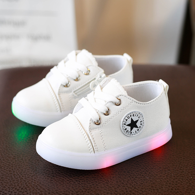 European fashion solid color Spring/Autumn baby boys girls shoes unisex LED lighting baby sneakers hot sales kids baby shoes