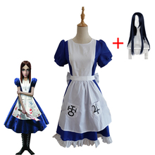 Game Alice Madness Return Cosplay Costume Girl Uniform Skirt Apron Set Blue Maid Dress Halloween Party Show Wig