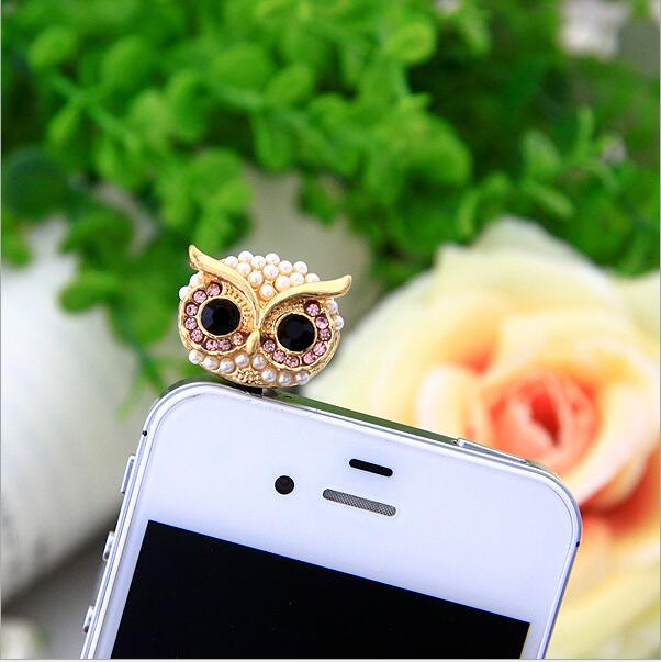 Turata Telephone Mobile Phone Dust Plug Earphone Jack Plugs Suitable For All 3.5mm Headphone Plug Studs Phone Big Eye Owl Mobile Phone Accessories