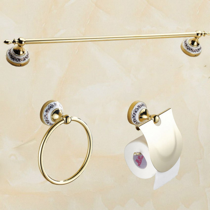 Luxury Gold Polished Brass Bathroom Accessories Set,Paper Holder,Towel Bar,Towel Ring,bathroom Fitting aset004 gold silver polished towel holder luxury solid brass simple wall mounted bathroom towel ring bathroom accessories lg10