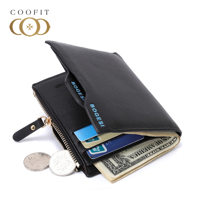 Bogesi Men Short Leather Solid Wallets Male Black Money Purses with Zipper