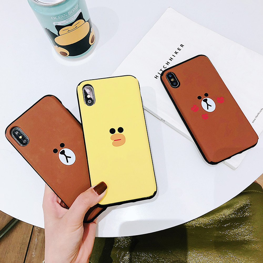 Slide-Phone-Cases-For-iPhone-6-6s-Plus-7-8-X-Xs-Brown-Bear-Make-Up-Mirror-Card-Slot-Silicone-Shockproof-Cute-Cartoon-Covers-SJ15- (2)