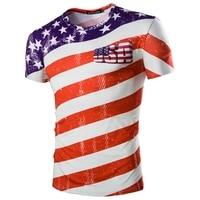 Men Striped T Shirt American Flag Pattern Printed Men 3D T Shirt 2017 Casual O Neck