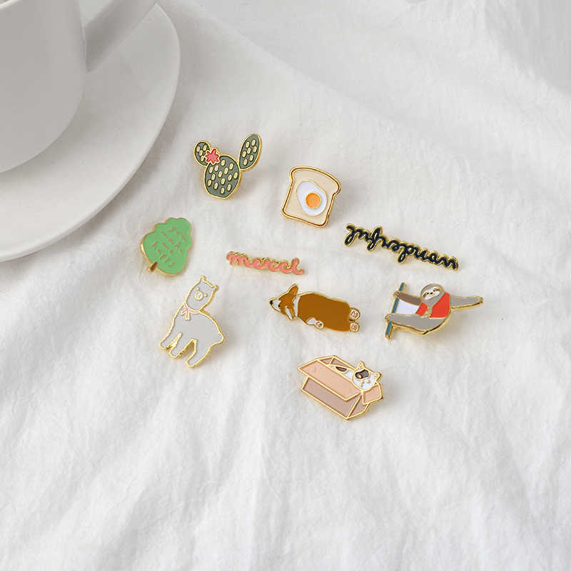 Cartoon Brooch Collection Cactus Tree Toast Alpaca Cat in box Alpaca Toast Corgi Pins Badges Enamel Pins Lapel Pin For Women Men