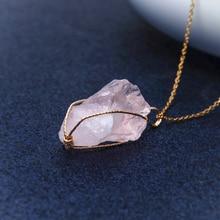 1PC Handmade Twining Irregular Natural Stone Pendant Purple Crystal Pink Quartz Necklace For Women