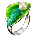 EDI Freshwater Pearl 925 Sterling Silver Open Ring For Women Hot Fashion Jewelry White Gold Plated Blue Leaves Summer Gifts
