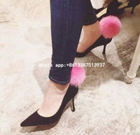 Spring 2017 Women Cheap High Quality Black Pink Green Fur Ball Front Back Slip On Pointed