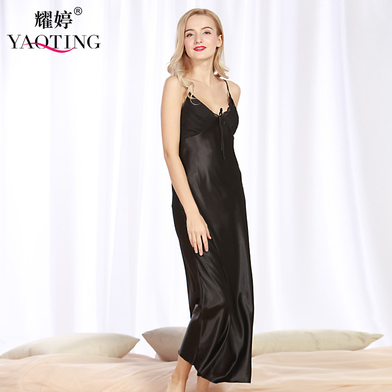 Silk women nightgown spring and summer long open fork sexy spaghetti strape v neck lace home dress