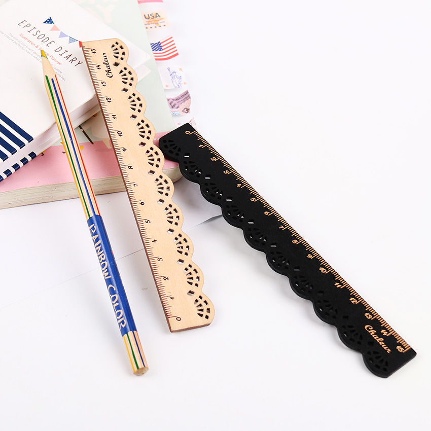 1PC Korea Zakka Kawaii Cute Stationery Lace Brown Wood Ruler Sewing Ruler Office School Accessories