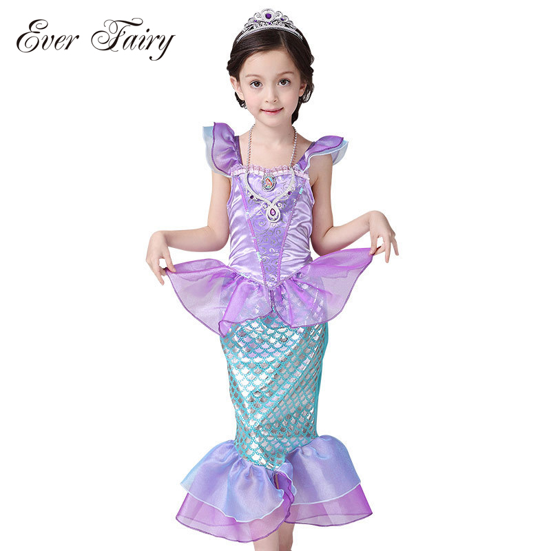 Children Baby Girls Clothes The Little Mermaid Fancy Kids Girls Dresses Princess Ariel Cosplay Halloween Costume