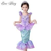 EVER FADA Crianças Bebê Roupas de Menina Pequena Sereia Crianças Fantasia Meninas Vestidos Sereia Princesa Ariel Cosplay Traje de Halloween