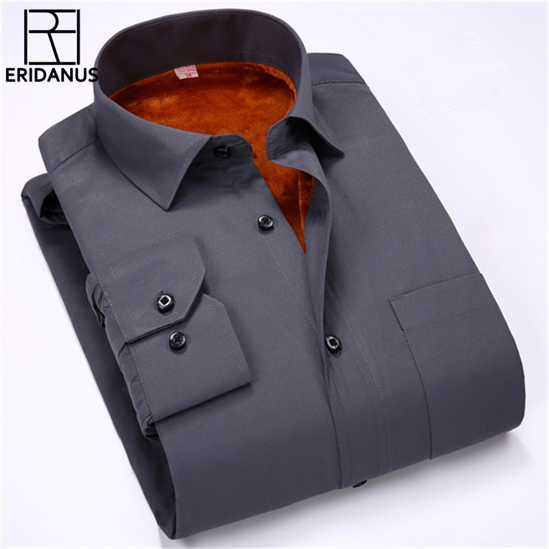 2017 New Arrival Men's Winter Warm Shirt Fashion Solid Color Long sleeved Thicken Cotton Oxford Casual Mens dress shirts M619