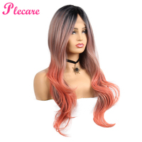 Plecare Ombre Long Wig Wavy Synthetic Lace Front Wig Cosplay Wig 26 Inches Pruiken For Women Orange Color Type