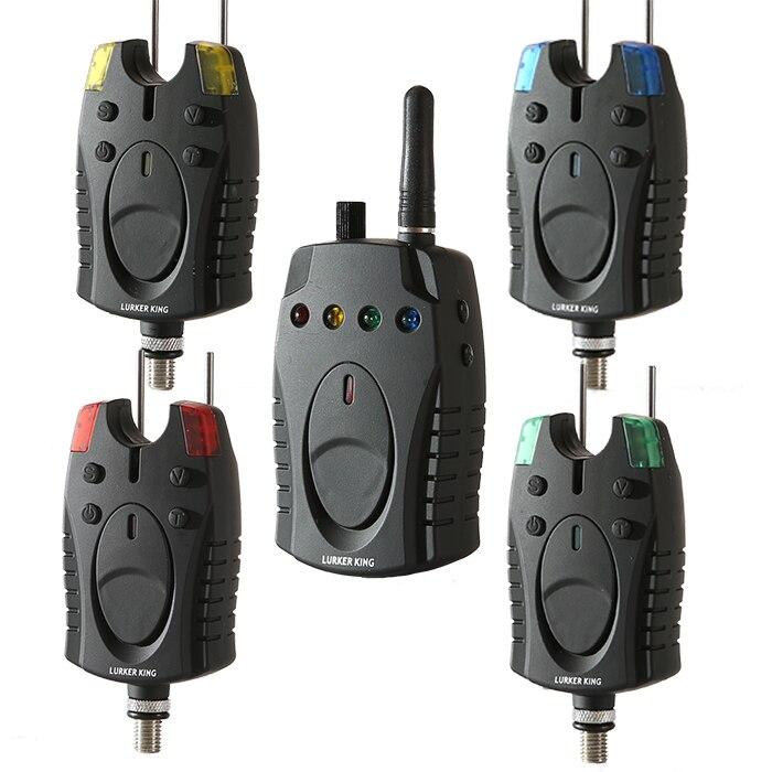 2017 nouveau détecteur de pêche Set pêche 4 + 1 sans fil carpe appât pêche électronique Kit d'alarme 4 couleurs LED écho sondeur morsure nécessaire