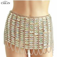 Chran Sexy Carnival Mesh Body Chain Skirts Bikini Showgirl Dress Hippie Rave Outfit Jewelry