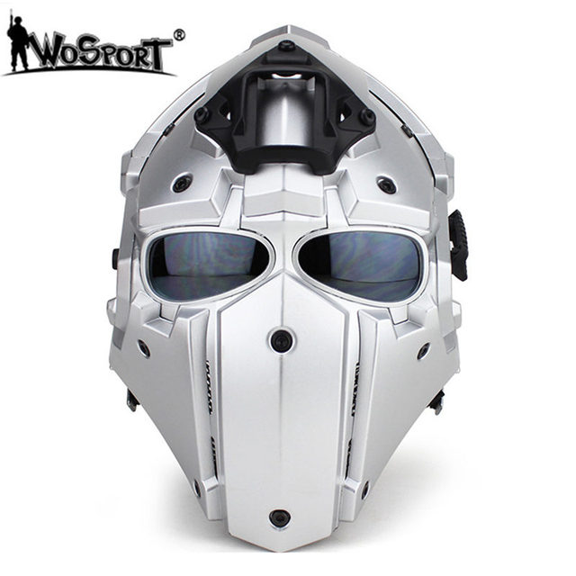 WoSporT Full Face Helmets with 5 Lenses Goggles+Fan Adjustable Motorcycle Tactical Airsoft Paintball Military Breathable Helmets