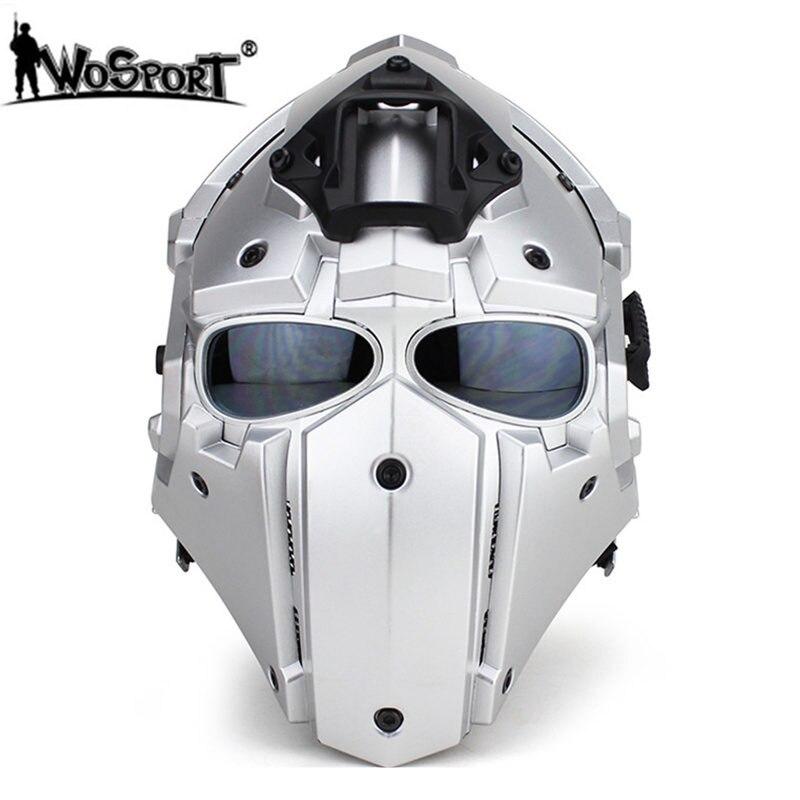 WoSporT Plein Visage Casques avec 5 Lentilles Lunettes + Ventilateur Réglable Moto Tactique Airsoft Paintball Militaire Respirant Casques