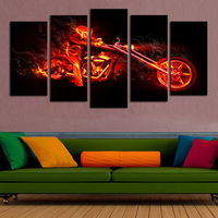 Unframed 5 Pcs Abstract Flame Man Motorcycle HD Picture Print Painting On Canvas Wall Art For