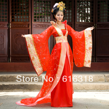 Red Crystal Yarn Costume  Ancient Tang Dynasty Empress Clothing ( 1 Braces Skirt, 1 Wraps, 1 Belt) you zi yin tang dynasty prince and empress costume parent child costume sets mother son stage clothing