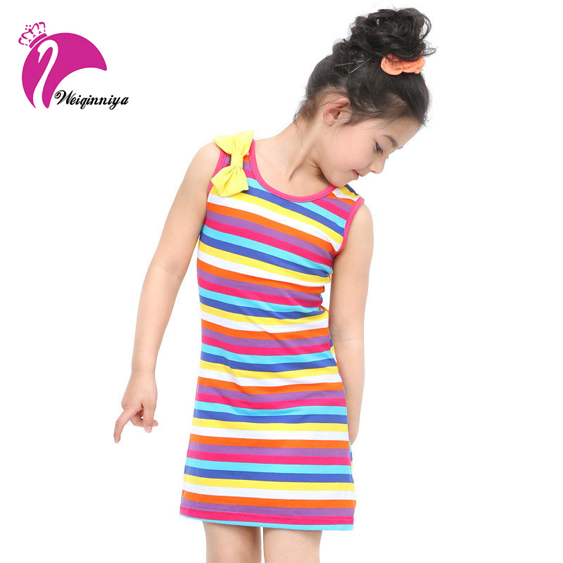 New Summer Children Girls Dress 2017 Fashion Children Striped O-neck Bow Clothing Casual Straight Kid Sleeveless Outwear Clothes 2016 retailer summer sleeveless tshirt and pant clothing set fashion kids casual summer clothes kid dress fashion clothes