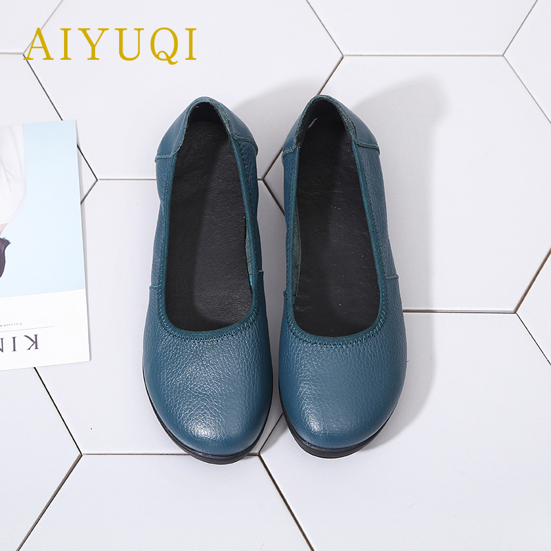 AIYUQI New Woman Flat Shoes 2019 Autumn Natural Genuine Leather Women's Casual Shoes Soft Bottom Comfort Mom Shoes